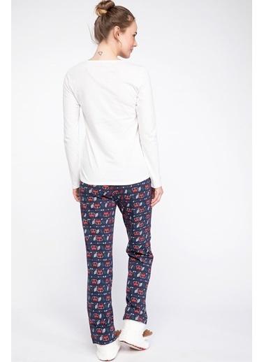 DeFacto Desenli Pijama Takımı Lacivert